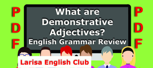 What are Demonstrative Adjectives PDF