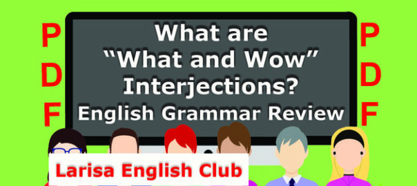 "What are ""What and Wow"" Interjections PDF"