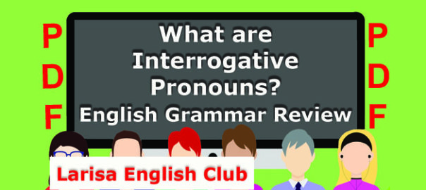 What are Interrogative Pronouns PDF